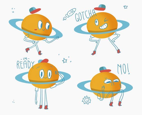 Carino Saturn Planet Character Doodle Vector Illuatration