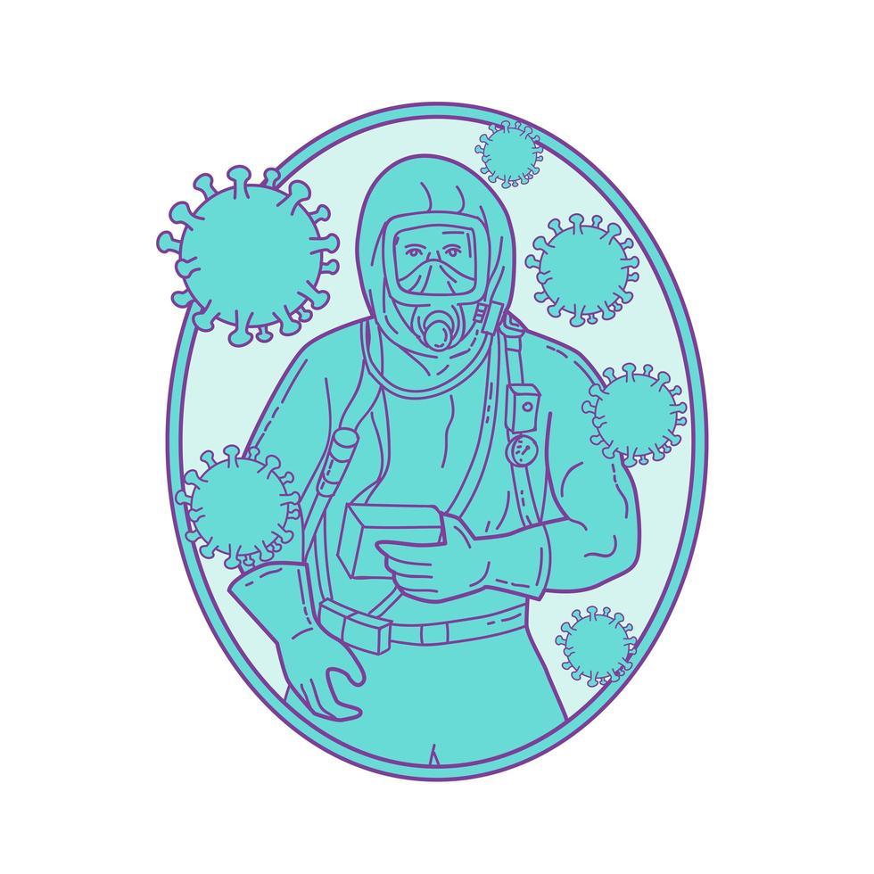 medico che indossa una tuta protettiva con linea mono coronavirus vettore