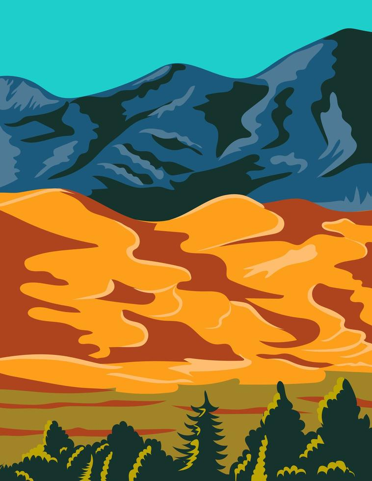 wpa poster art del parco nazionale e riserva delle grandi dune di sabbia vettore