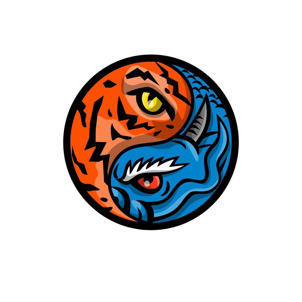 drago e occhio di tigre all'interno della mascotte simbolo yin yang vettore