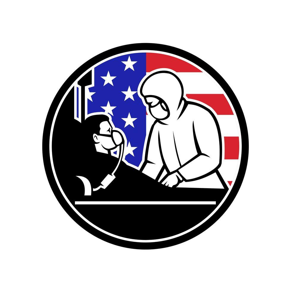medico curare covid-19 paziente usa bandiera cerchio retrò vettore