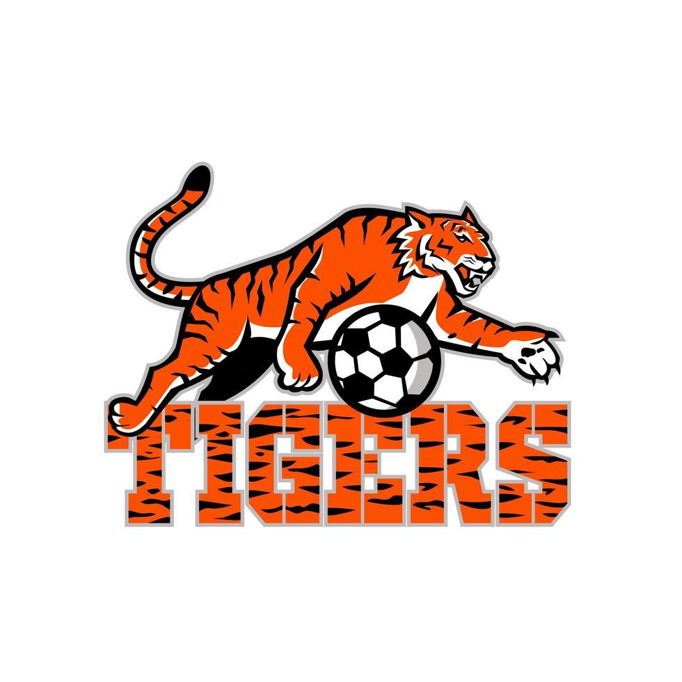 tigre dribbling mascotte pallone da calcio vettore
