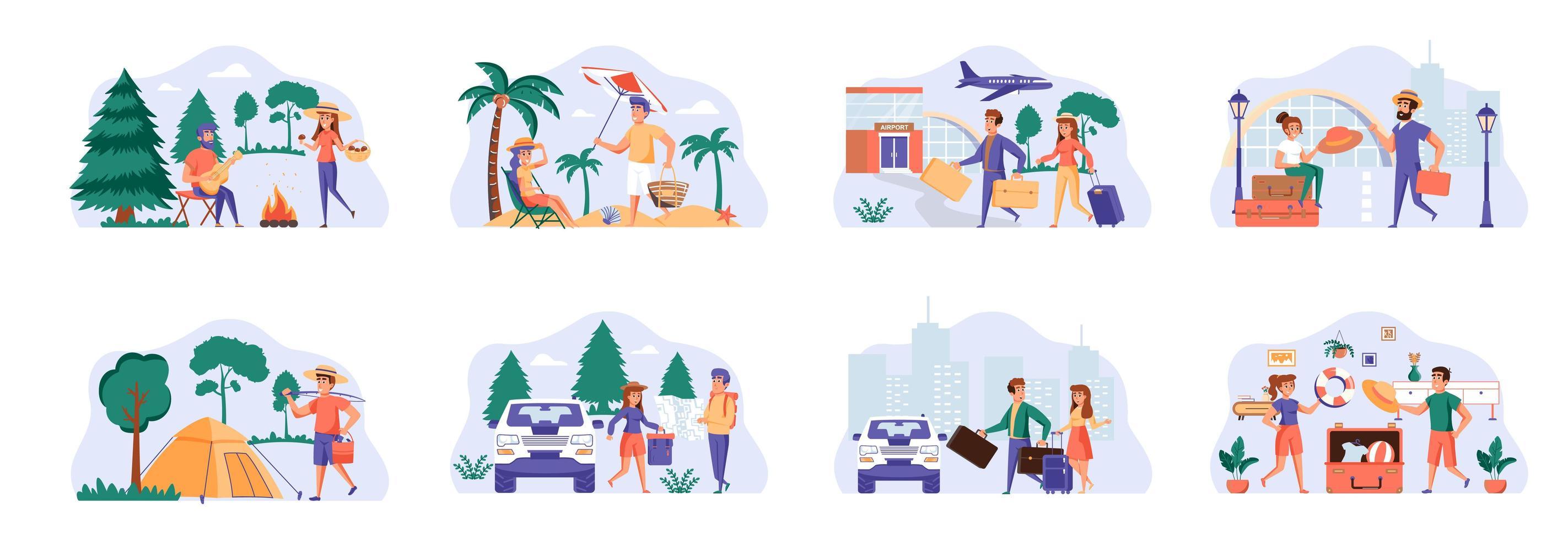 pacchetto di scene di viaggio vacanza con personaggi di persone. vettore