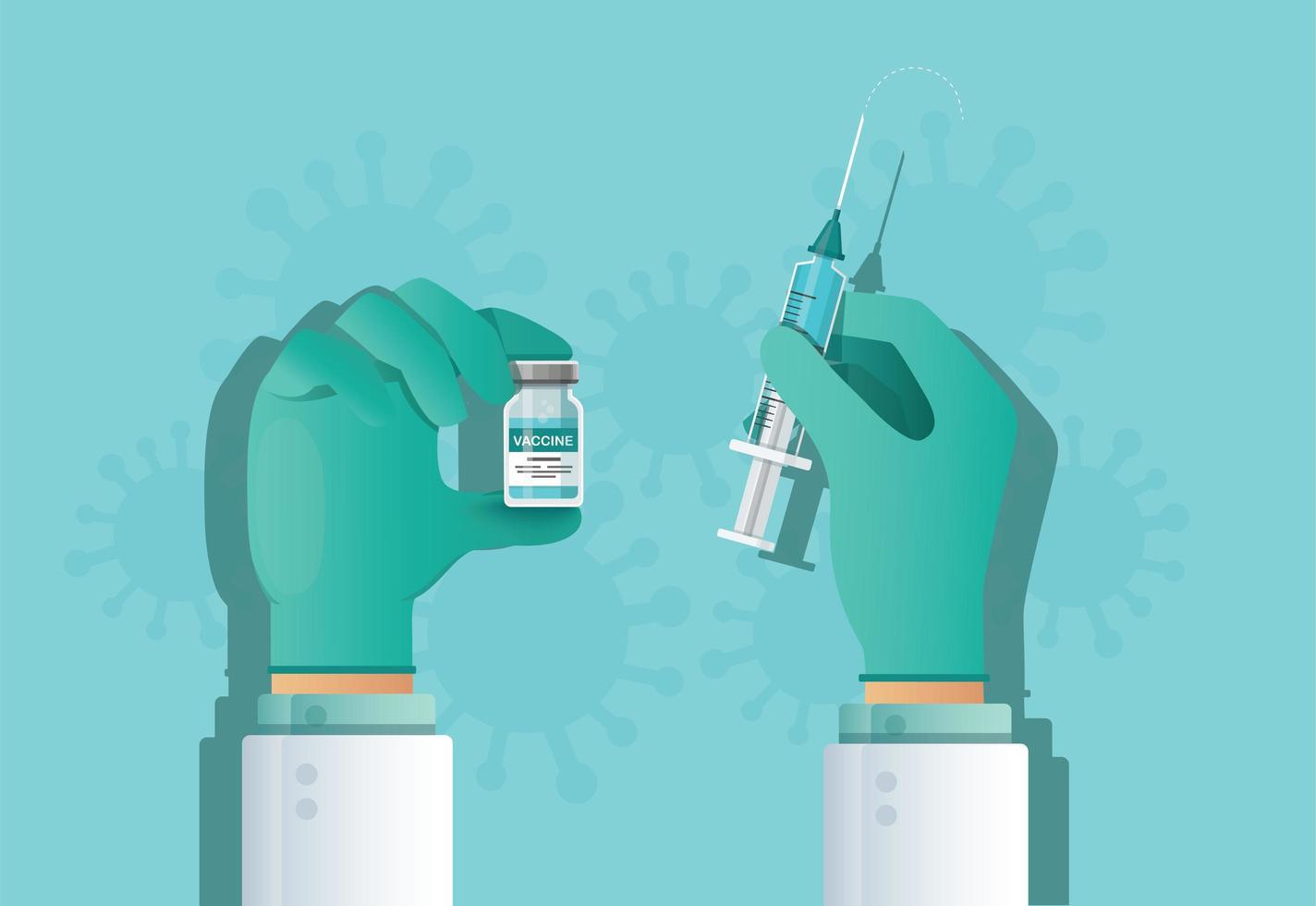 mano che tiene la fiala di vaccino. concetto di vaccinazione. assistenza sanitaria e protezione. illustrazione vettoriale