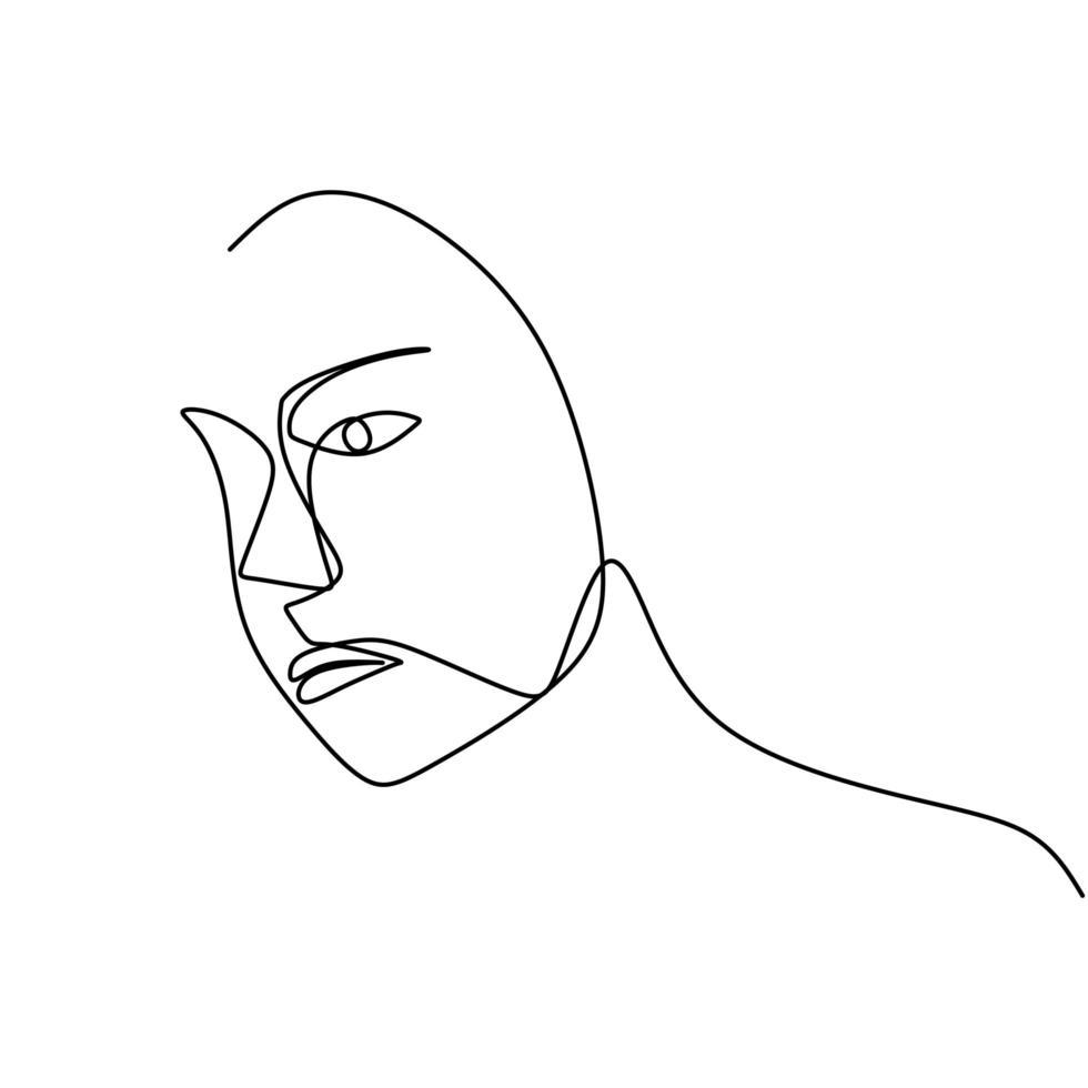 donna faccia un disegno a tratteggio. astratto bella signora design minimalista stile continuo. vettore