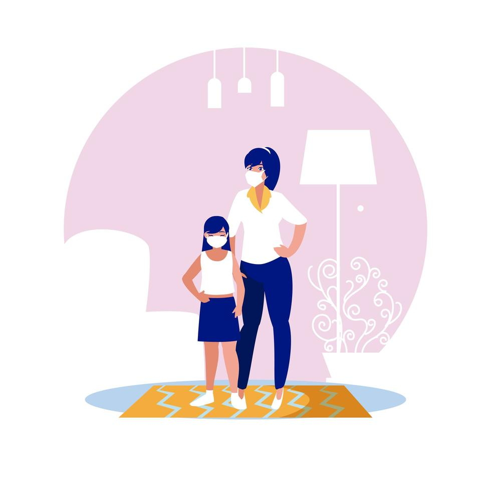 madre e figlia con maschere a casa disegno vettoriale