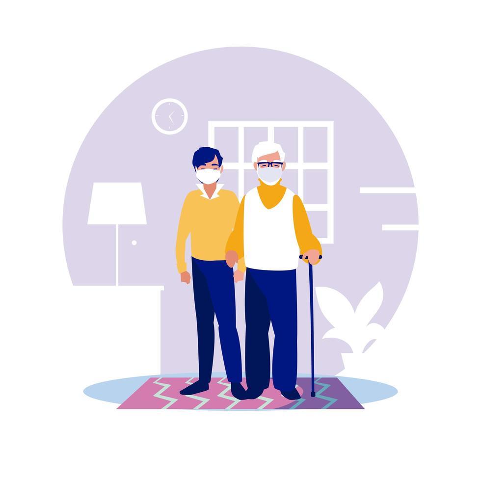 uomo e nonno con maschere a casa disegno vettoriale