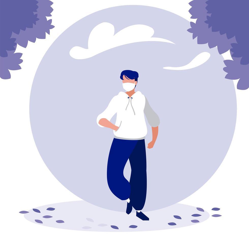uomo con maschera e alberi fuori disegno vettoriale