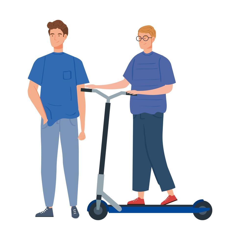 giovani uomini con personaggio avatar scooter vettore