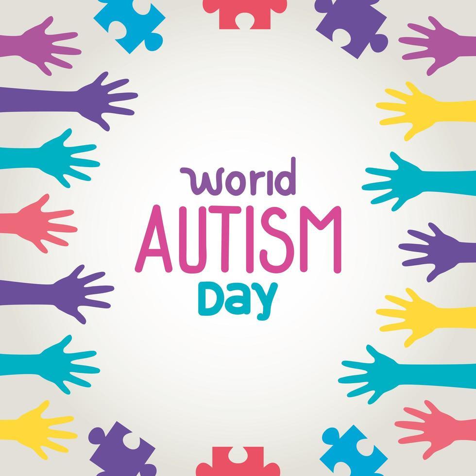 giornata mondiale dell'autismo con mani e pezzi di un puzzle vettore