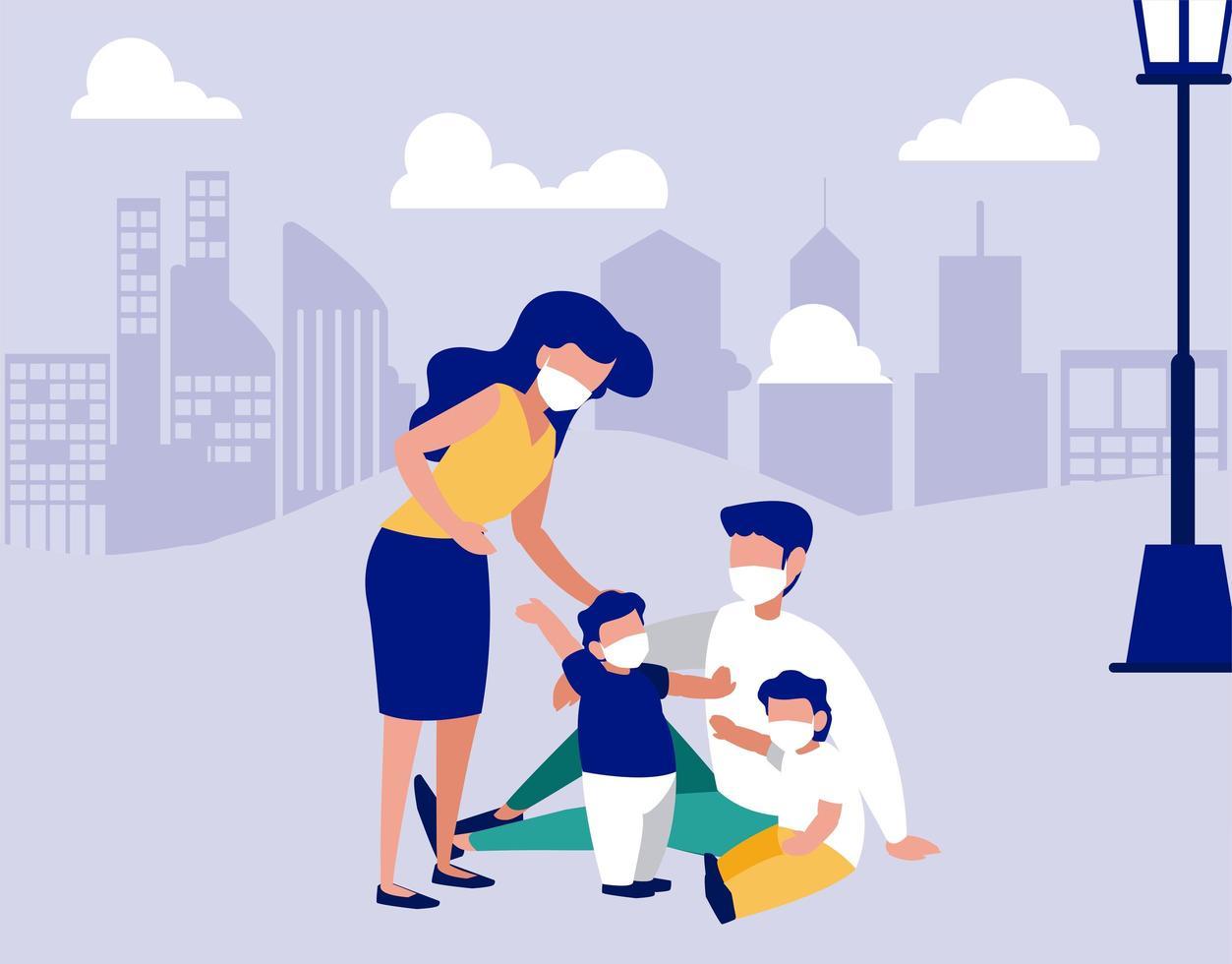 famiglia con maschere al parco di fronte al disegno vettoriale di città