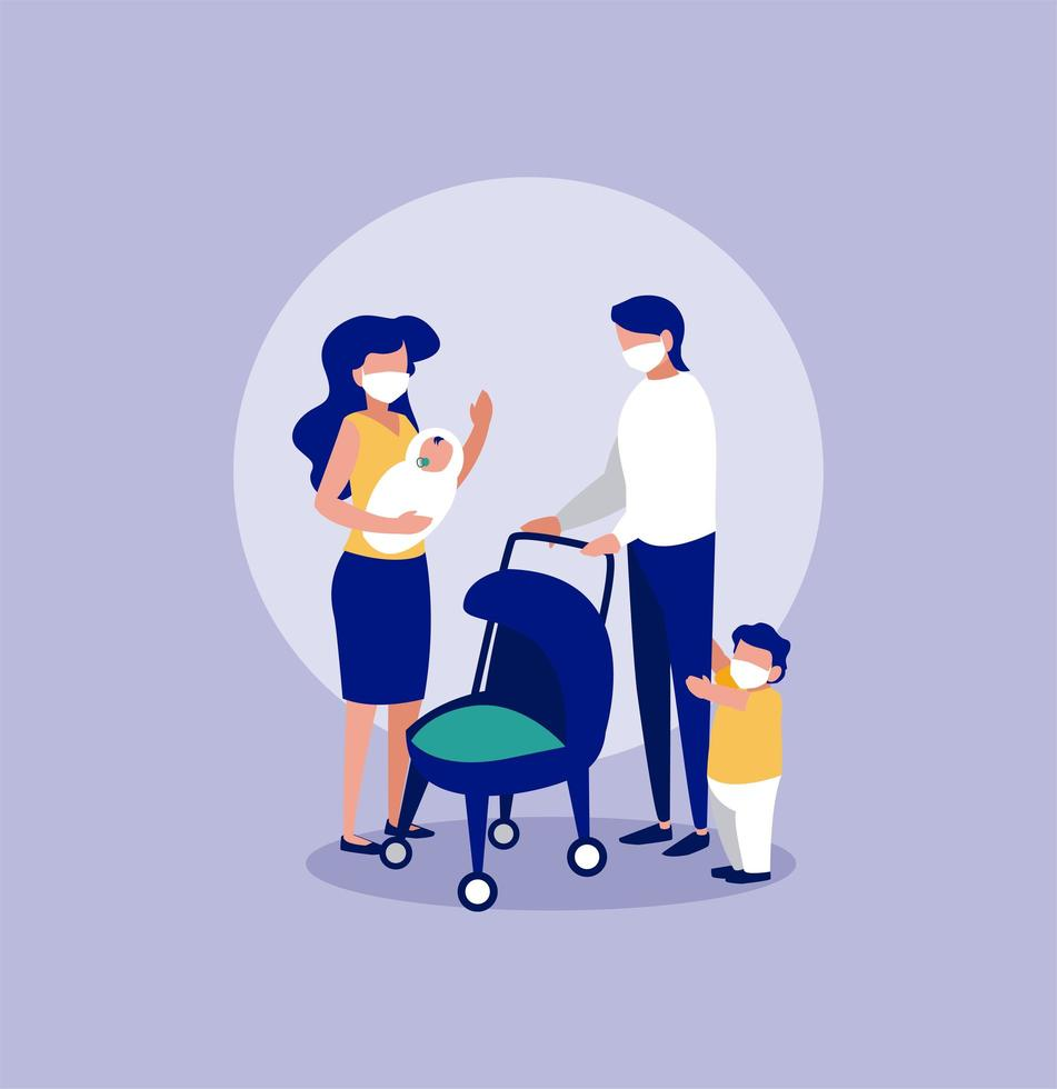famiglia con maschere davanti al disegno vettoriale cerchio