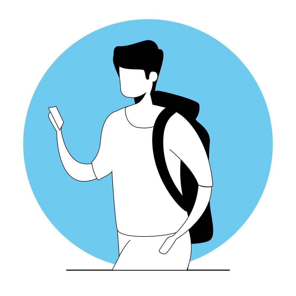 giovane con icona del personaggio avatar valigetta vettore