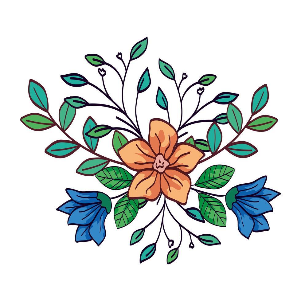 simpatici fiori di colore blu e giallo con rami e foglie vettore