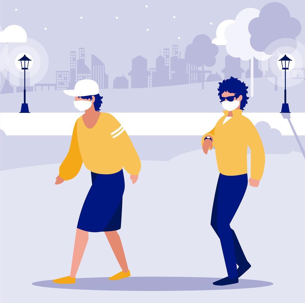 uomini con maschere fuori al disegno vettoriale del parco