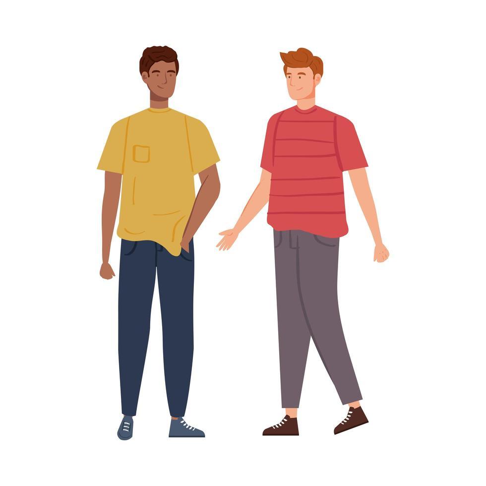 gruppo di personaggi avatar di giovani uomini vettore