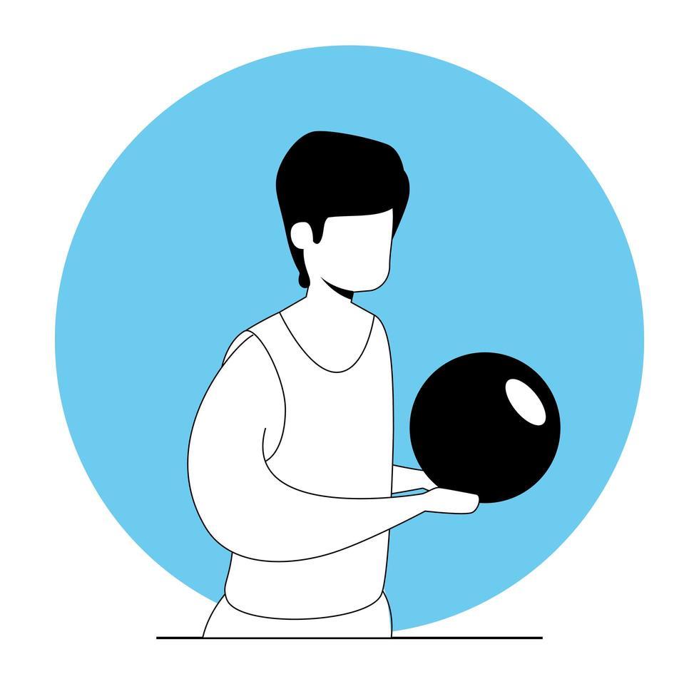 giovane con carattere avatar palla sportiva vettore