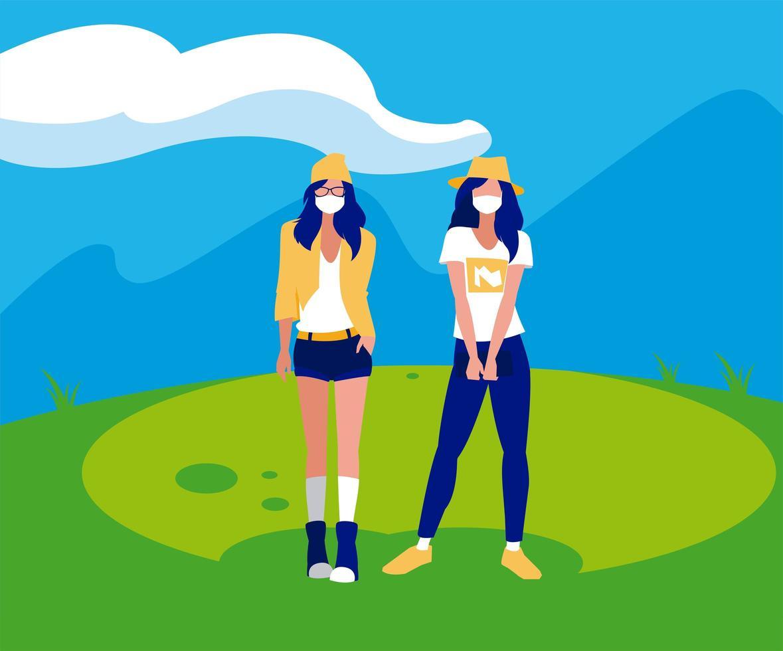 avatar di donne con maschere al di fuori del disegno vettoriale