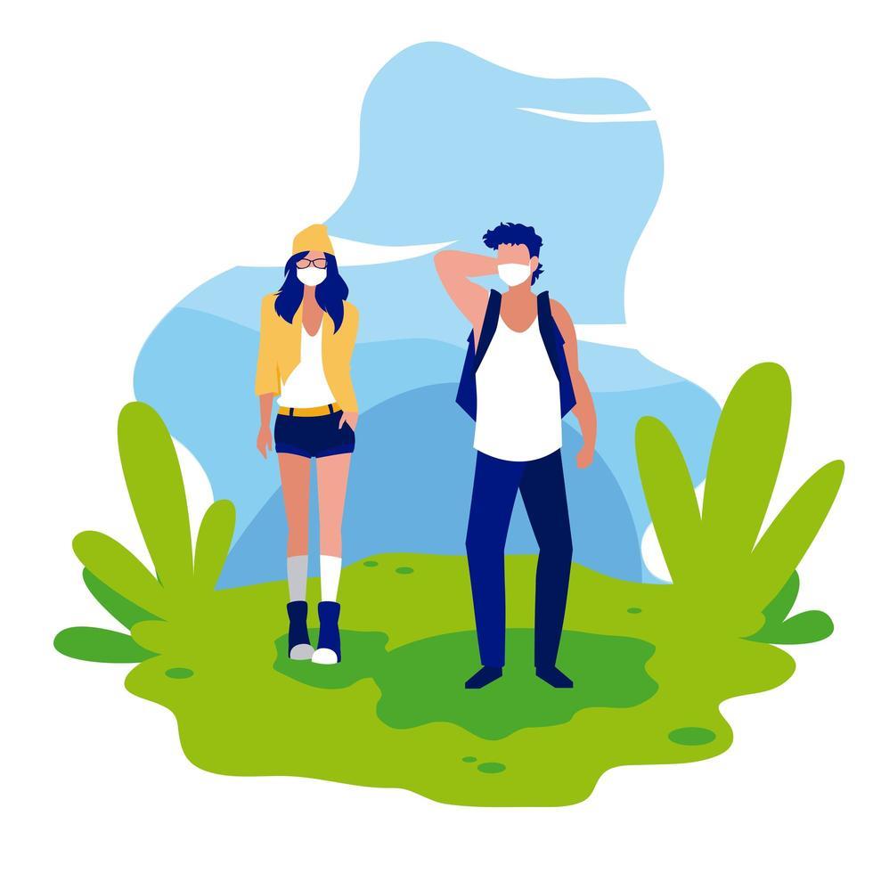 avatar di donna e uomo con maschere al di fuori del disegno vettoriale