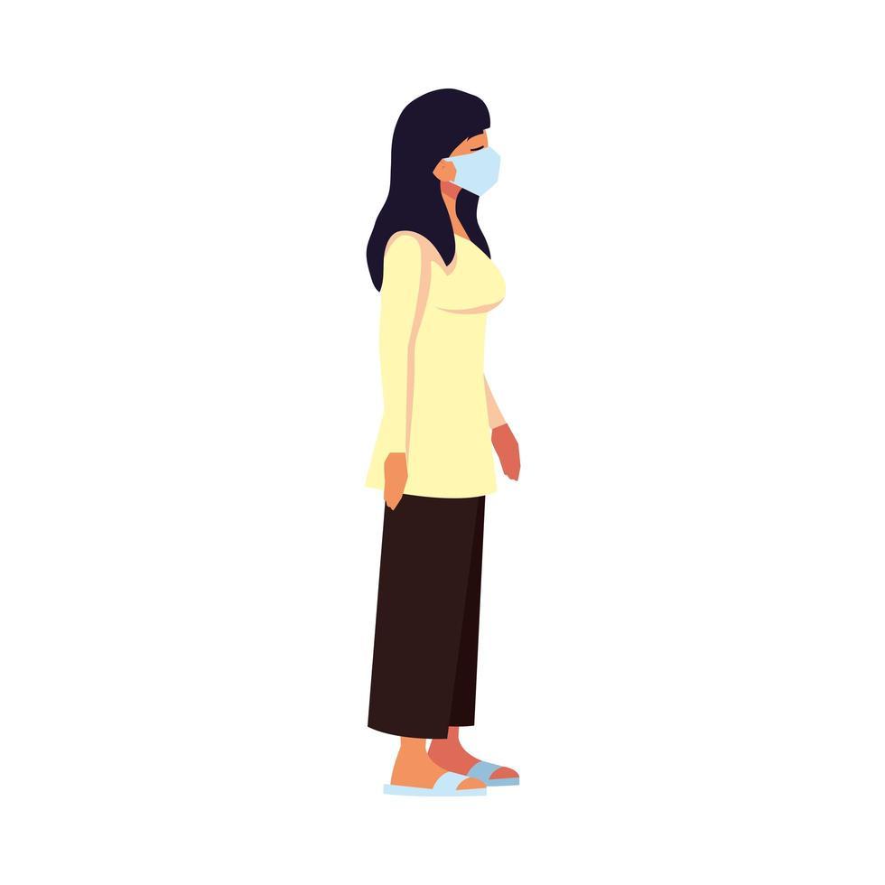 donna con disegno vettoriale maschera