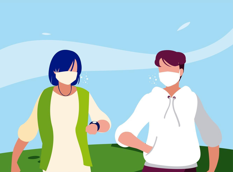 avatar di uomini con maschere al di fuori del disegno vettoriale