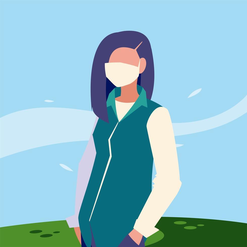 avatar donna con maschera fuori disegno vettoriale