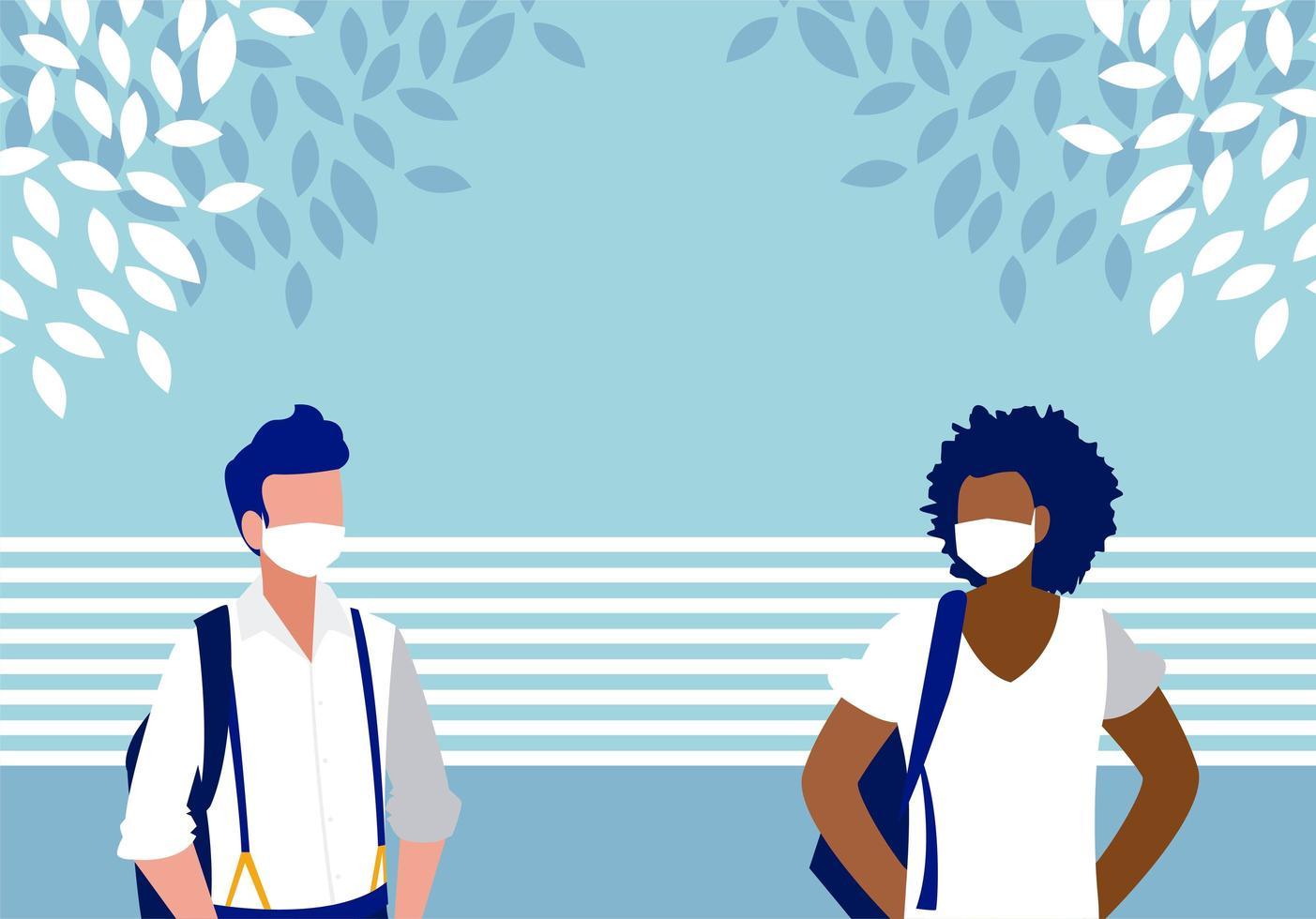 uomini con maschere al di fuori del disegno vettoriale