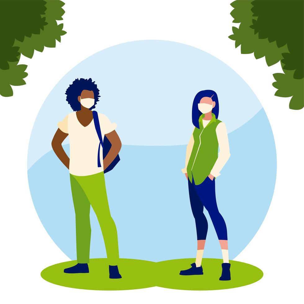 avatar donna e uomo con maschera fuori disegno vettoriale
