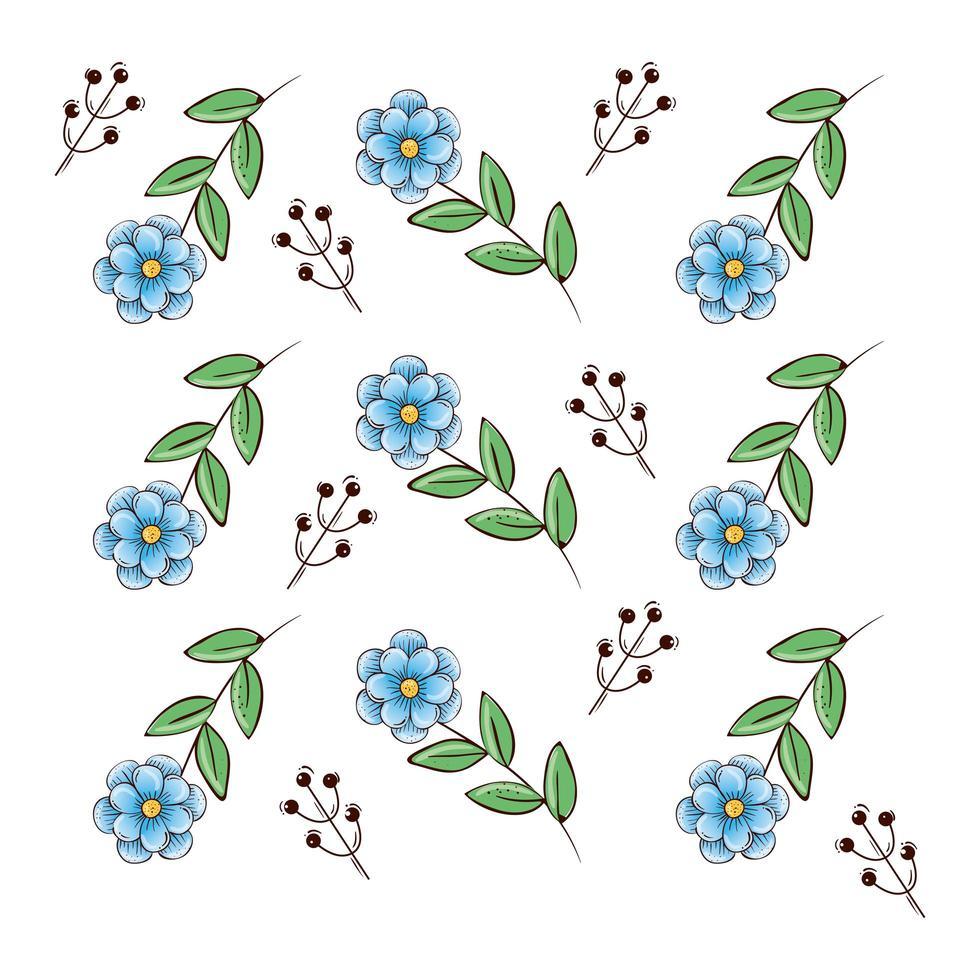 sfondo di fiori blu con rami e foglie vettore