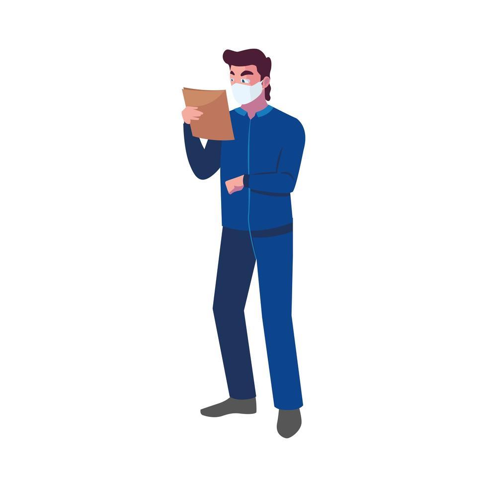 operatore del settore che indossa la maschera per il viso al lavoro vettore