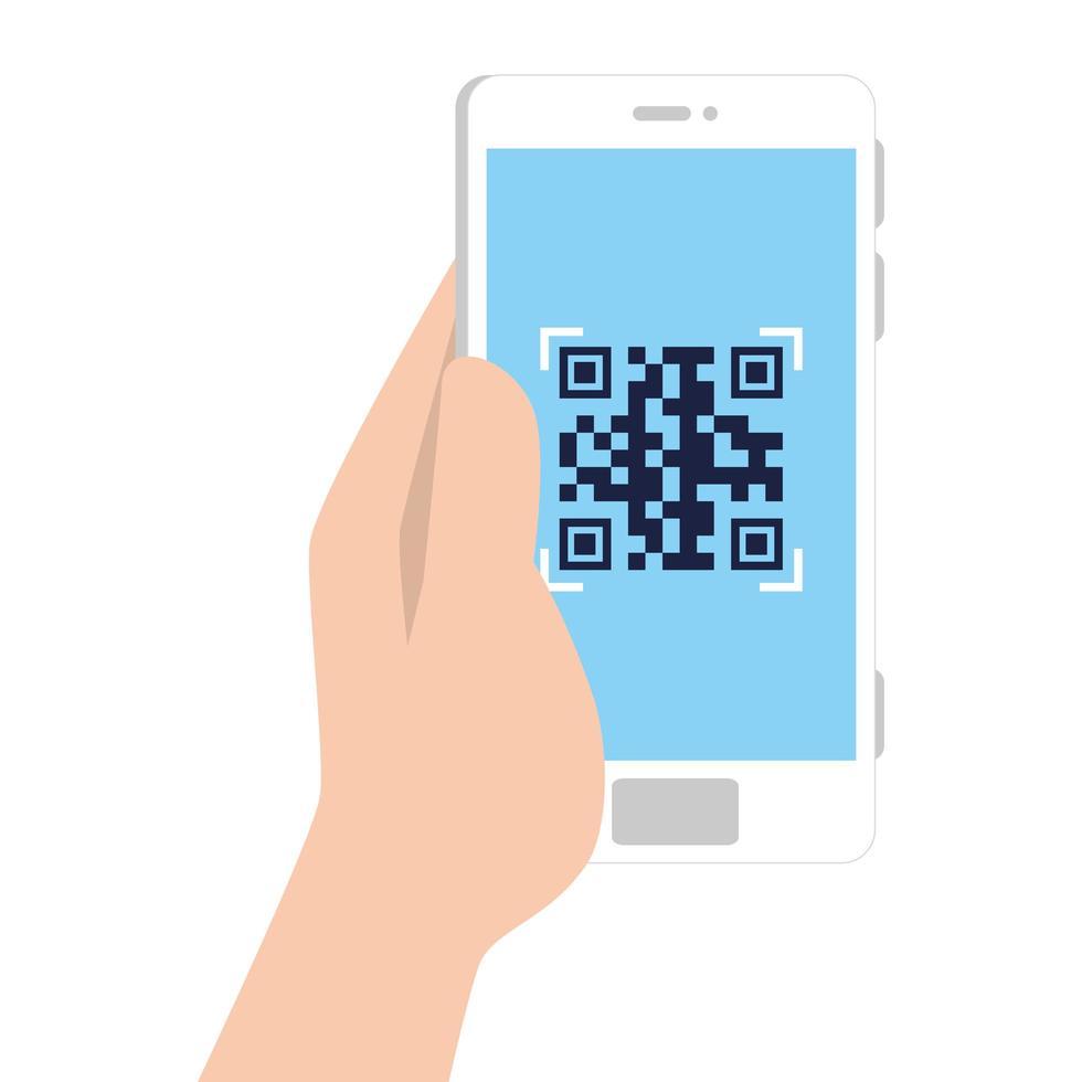mano e codice qr all'interno del disegno vettoriale dello smartphone