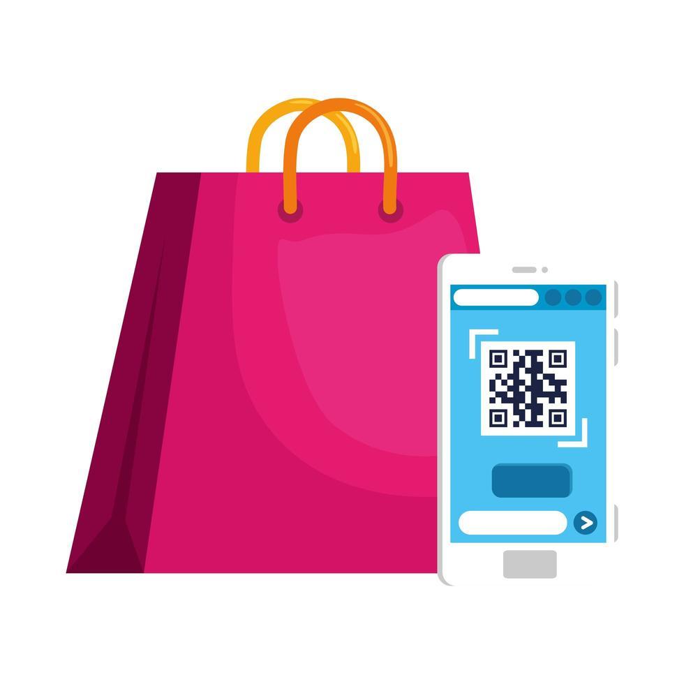 codice qr all'interno di smartphone e borsa disegno vettoriale
