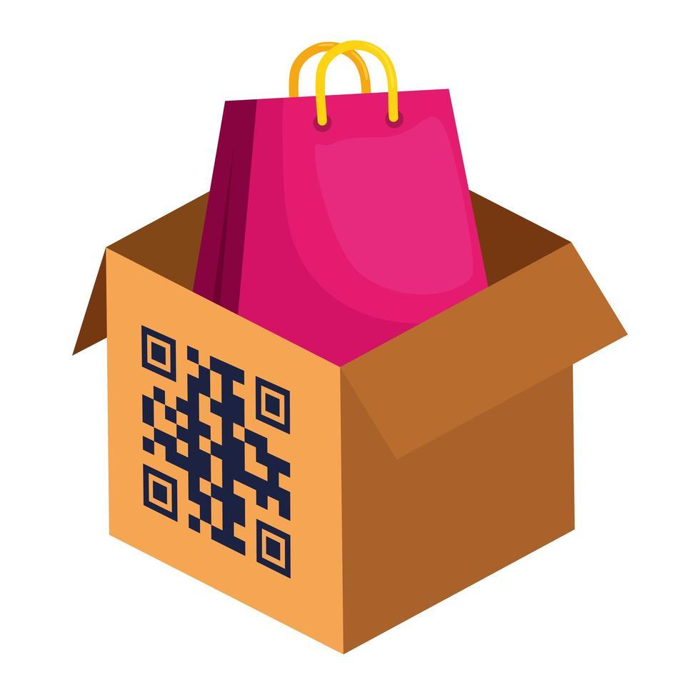 qr code su scatola e borsa disegno vettoriale