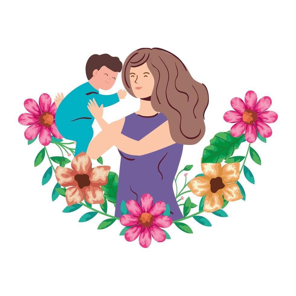 madre che alza neonato con decorazione di fiori vettore
