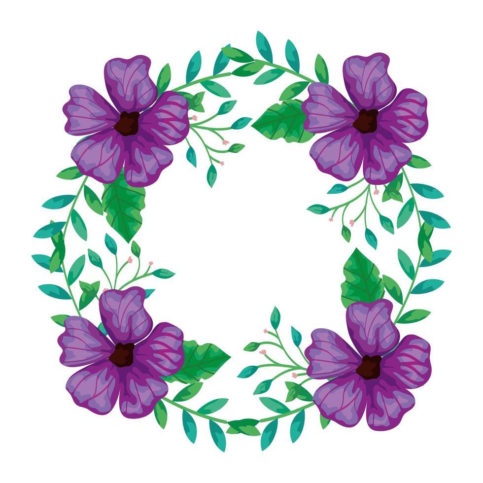 cornice circolare di fiori viola con rami e foglie vettore