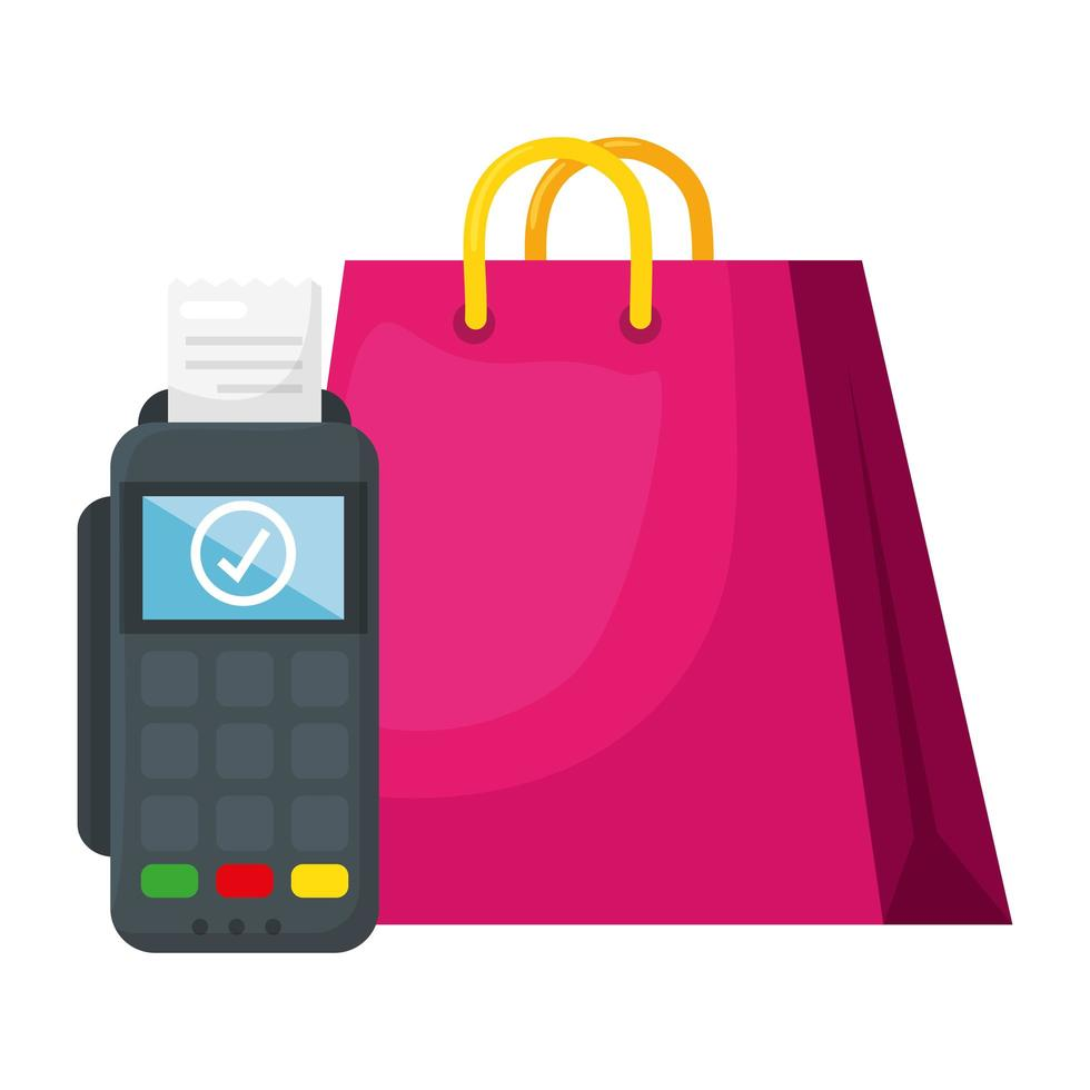 isolato shopping bag e dataphone disegno vettoriale