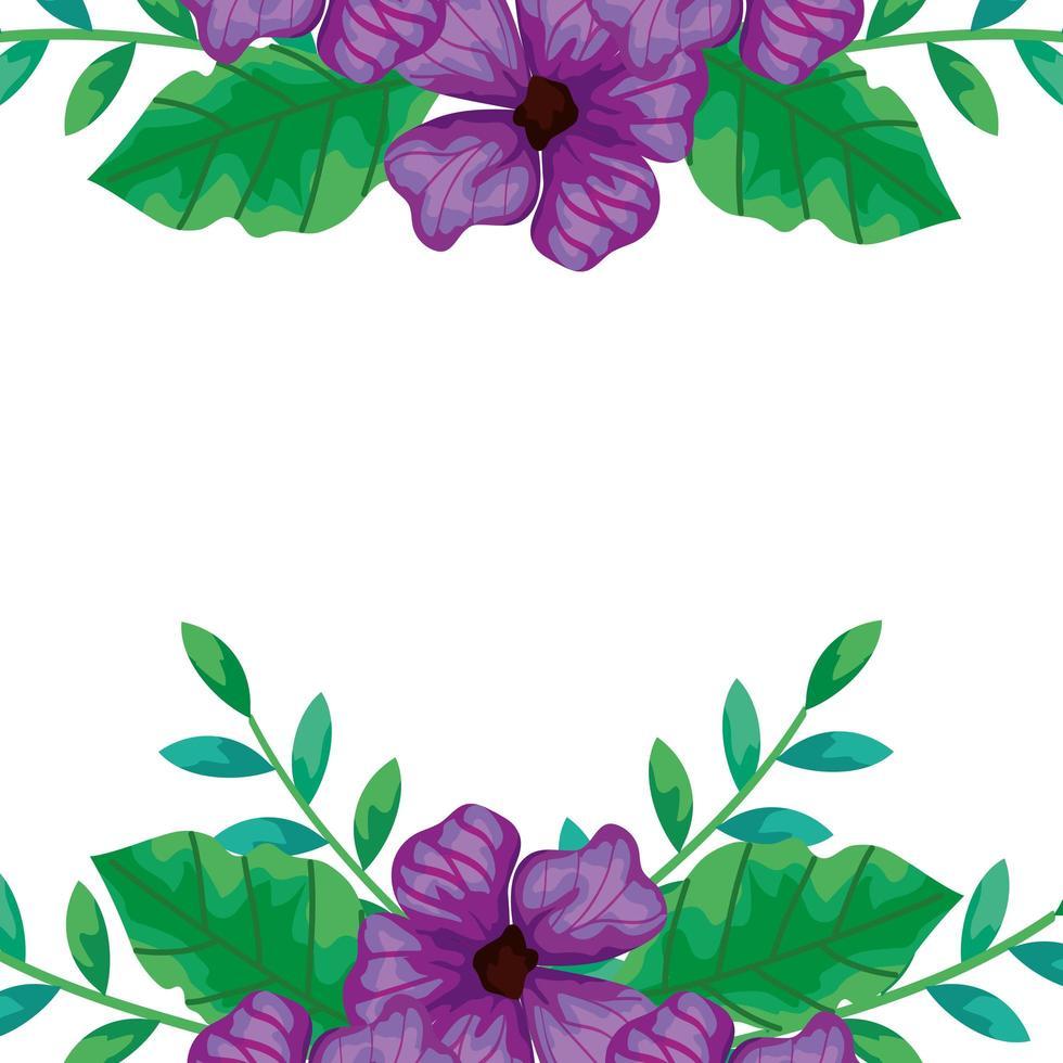 cornice di fiori viola con rami e foglie vettore