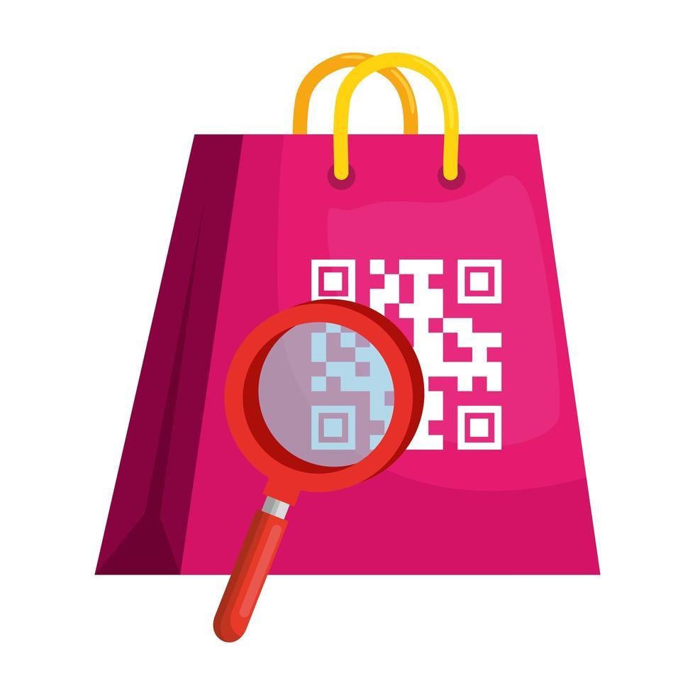 codice qr su borsa e disegno vettoriale lupe