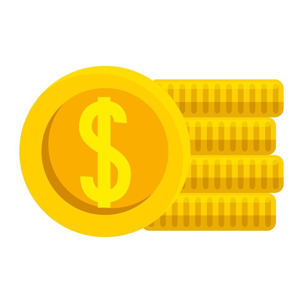 isolato denaro monete disegno vettoriale
