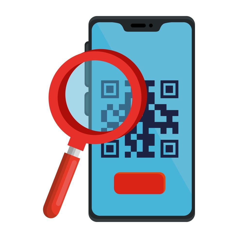 codice qr all'interno di smartphone e disegno vettoriale lupe