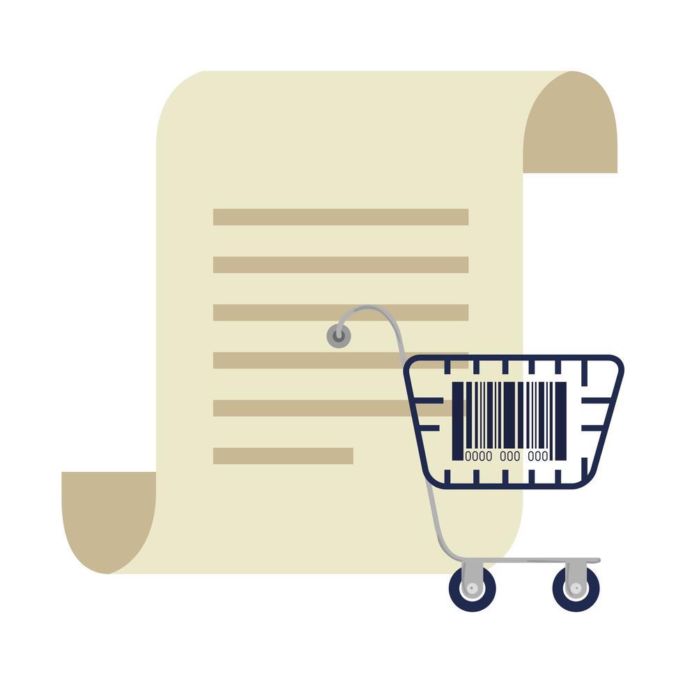 codice a barre all'interno del carrello della spesa e disegno vettoriale di carta per ricevute