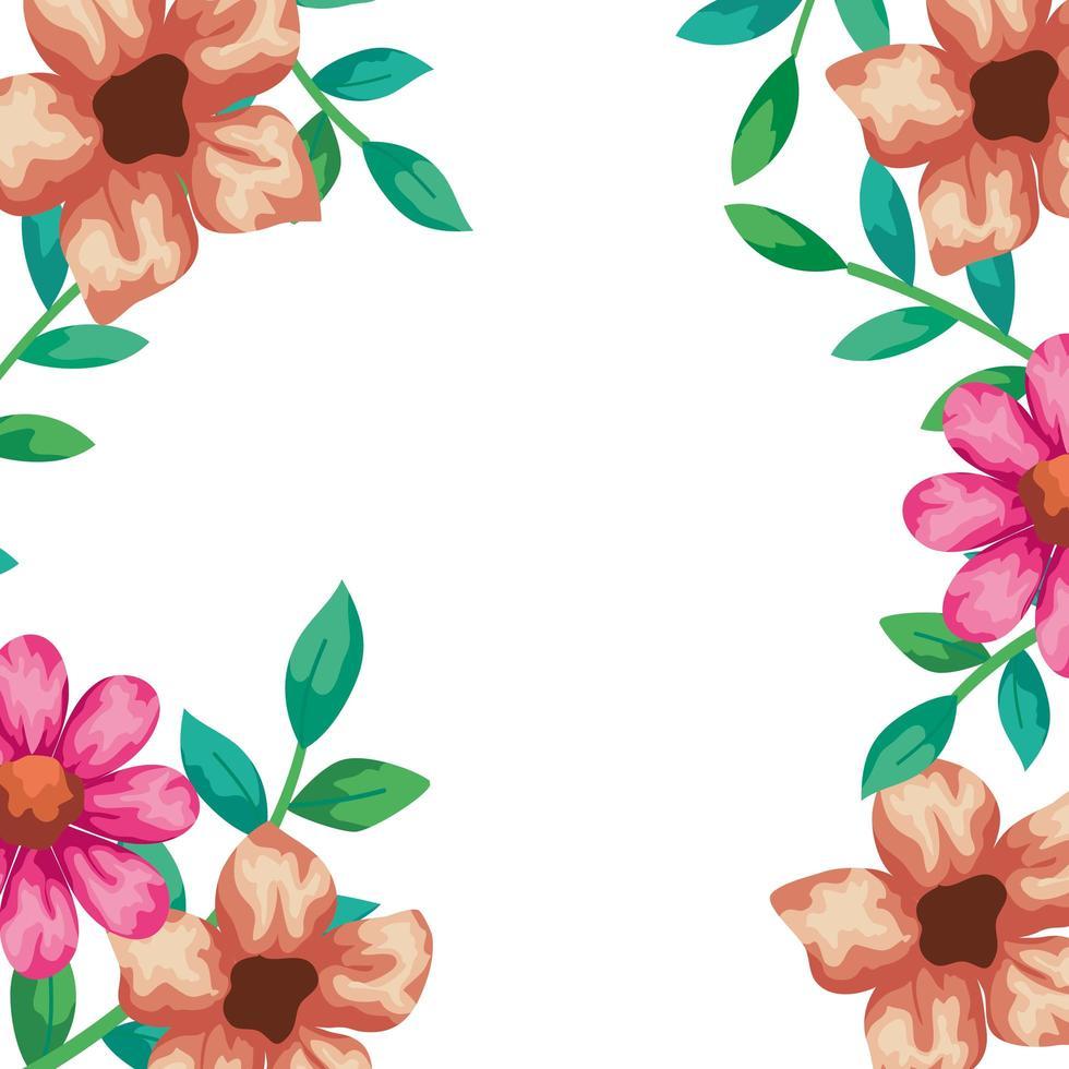 cornice di fiori con rami e foglie vettore