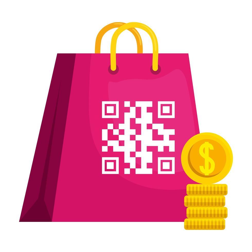 codice qr su disegno vettoriale borsa e monete
