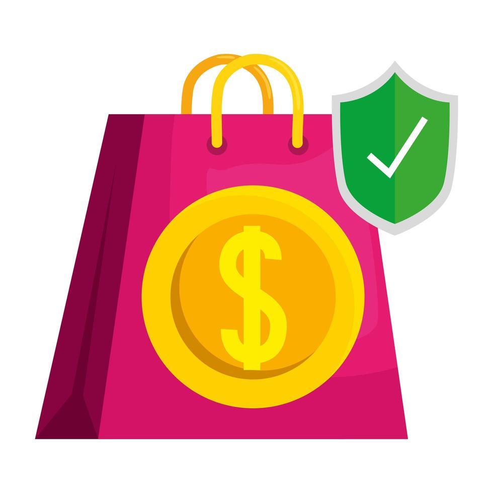 shopping bag isolato con disegno vettoriale moneta e scudo