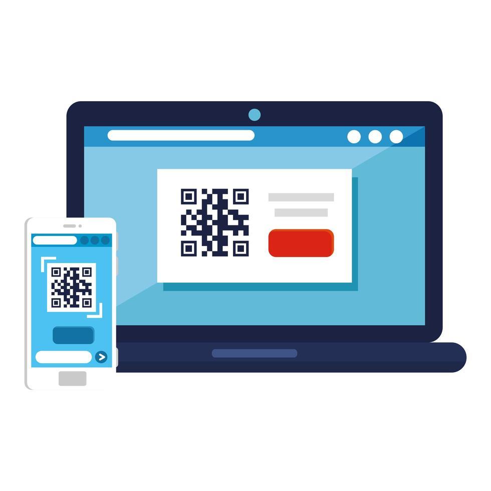 codice qr all'interno di laptop e smartphone disegno vettoriale