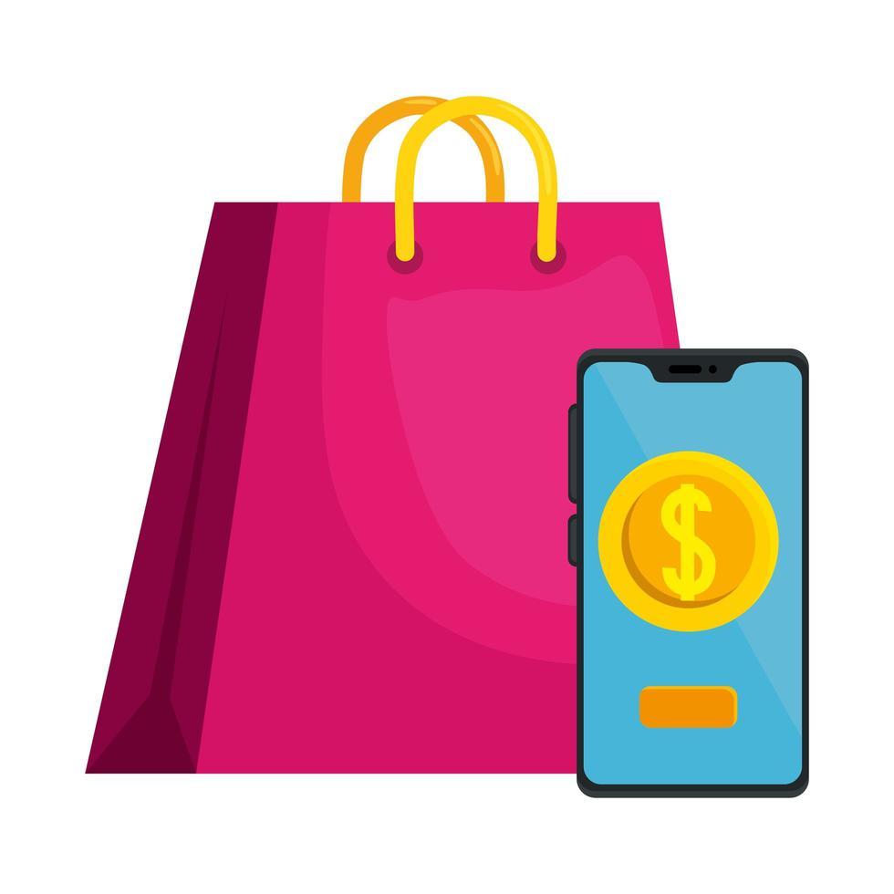 shopping bag isolato e smartphone con disegno vettoriale moneta