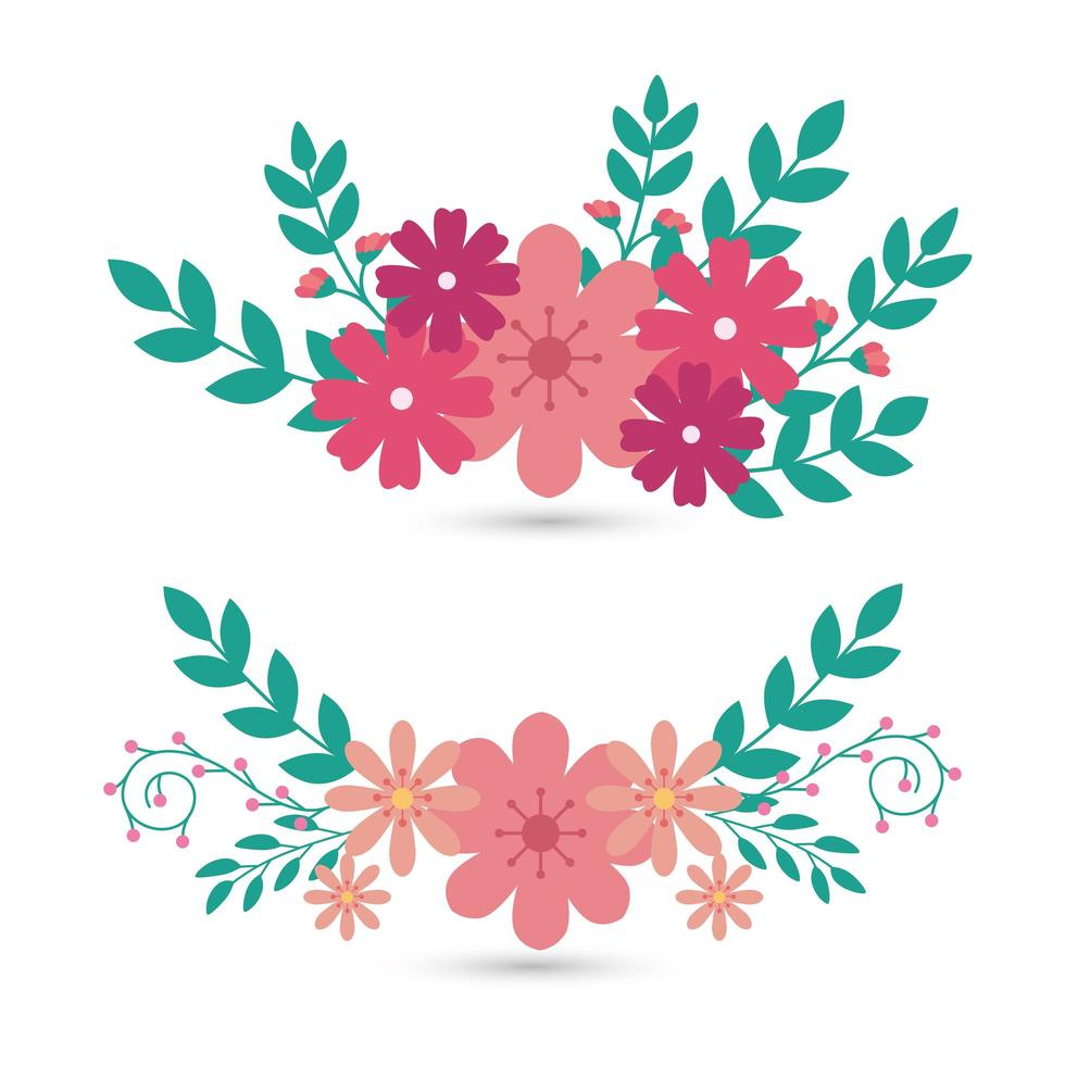 set di fiori carini con rami e foglie naturali vettore