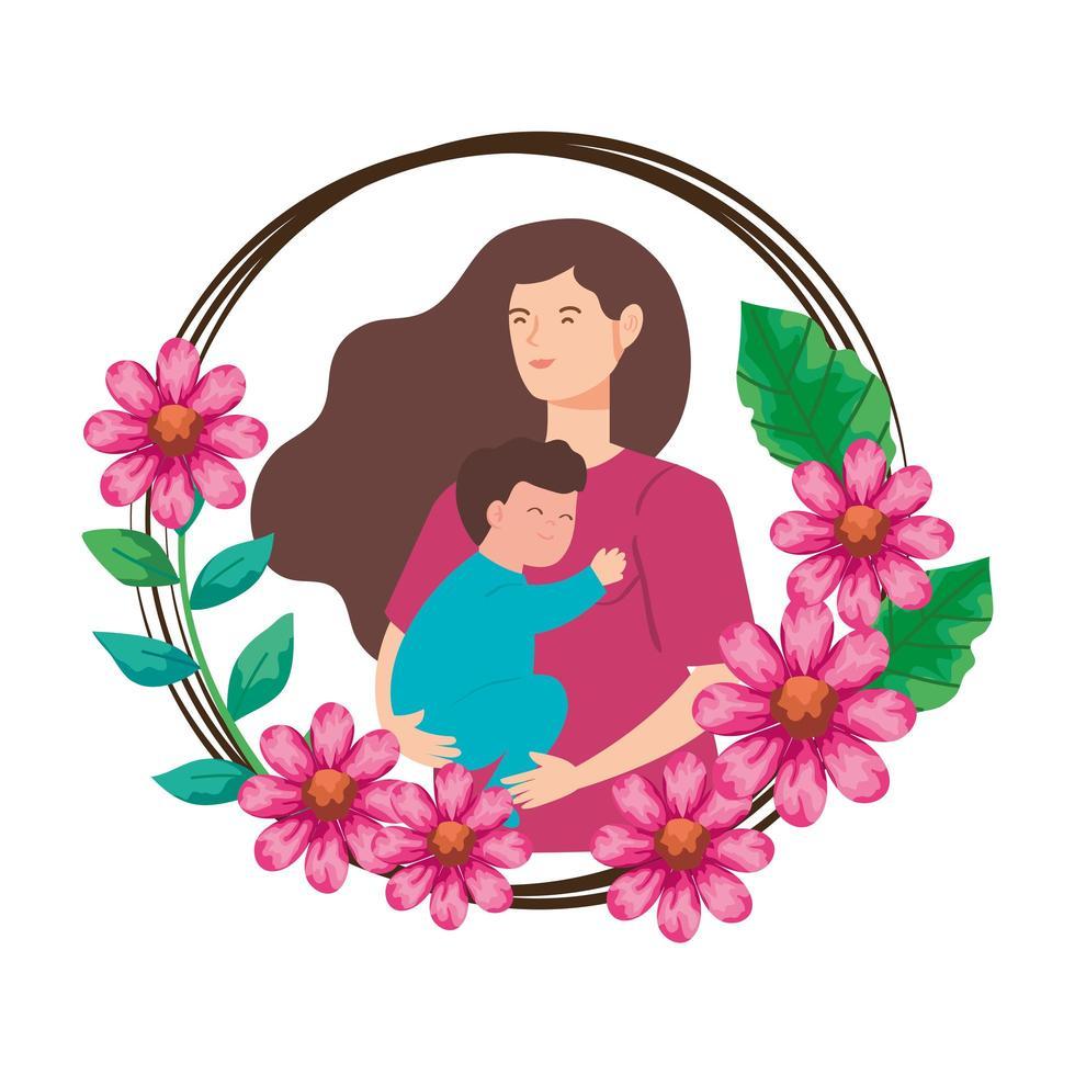 donna incinta che trasportano neonato in cornice di fiori vettore