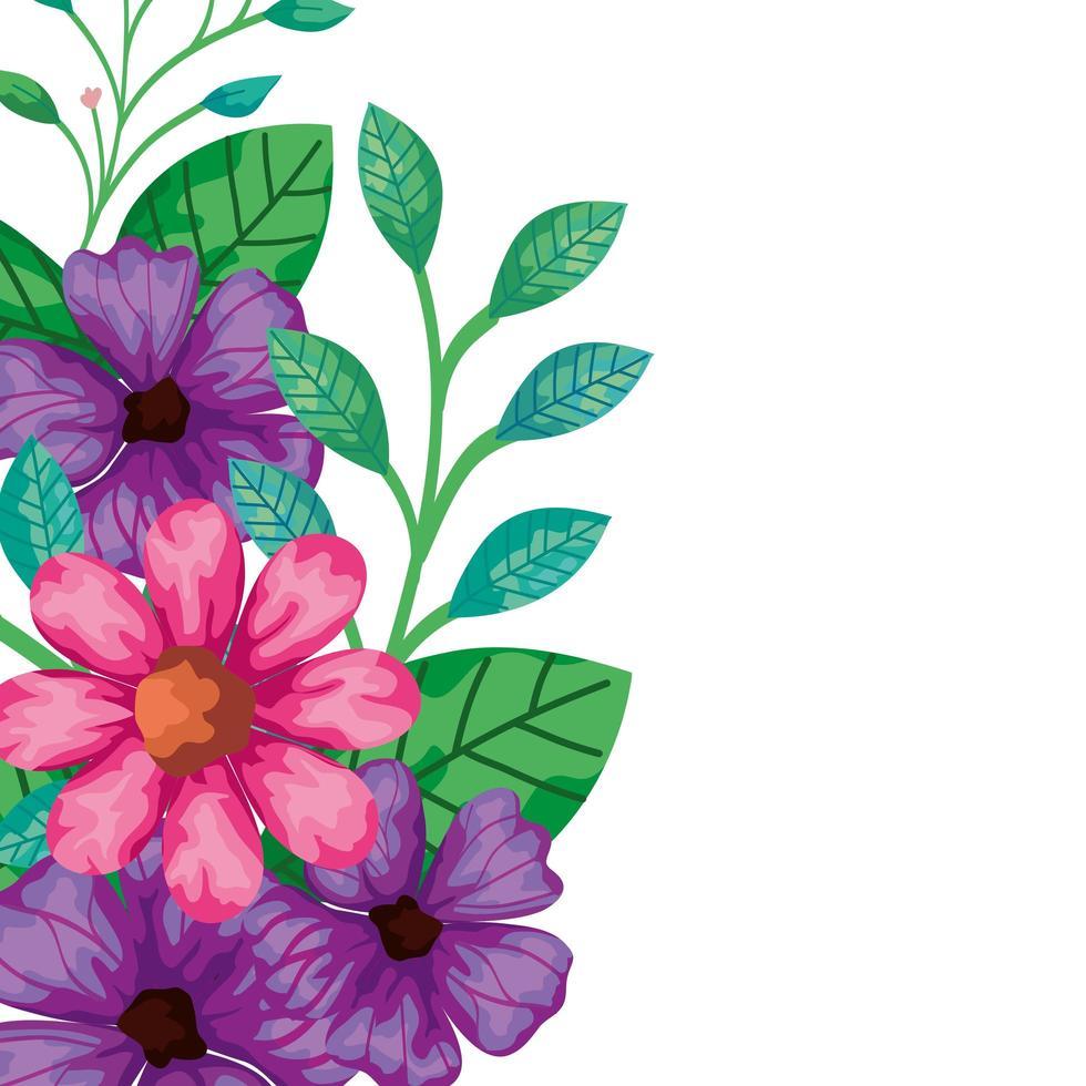 simpatici fiori rosa e viola con foglie vettore