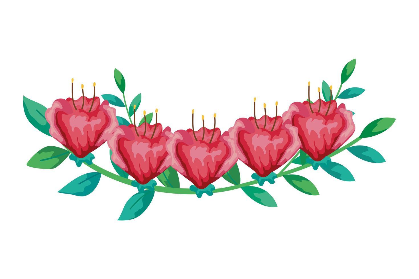 simpatici fiori rossi con ramo e foglie icona isolato vettore